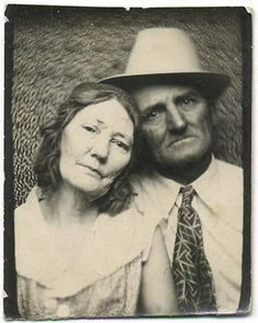 +~ Vintage Photo Booth Picture ~+  Couple that have been through the war and back.