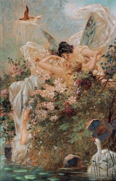 Renaissance Kunst, Renaissance Paintings, Wallpaper Angel, Wallpaper Art, Iphone Wallpaper, Decorative Paper Crafts, Dragons, Fairy Paintings, Lesbian Art