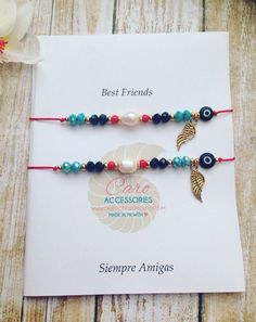 Best friends bracelet set. Pulseras de mejores by CaroAccessories
