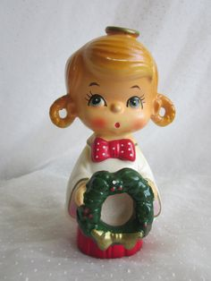 Adorable Vintage Christmas Figurine Girl - or maybe for Santa Lucia Day, $9.99