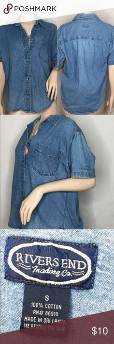 ❗️FINAL❗️Jean Shirt 😱 Button Up ! Great condition • No Stains ! - Who doesn't love JEAN ?😩 (Bundle up and save more !) Rivers End Tops Button Down Shirts