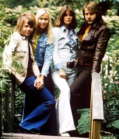 Chart-toppers: Agnetha with husband Bjorn, left, and Abba bandmates Anni-Frid and Benny, right, in 1975