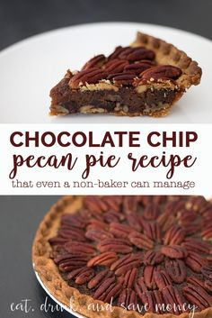 Make an impressive chocolate chip pecan pie even if you aren't a baker. This easy recipe can't be messed up, even this non-baking blogger can make it! You'll love this chocolate chip pecan pie recipe.   Chocolate Chip Pecan Pie Recipe http://eatdrinkandsavemoney.com/2016/11/14/chocolate-chip-pecan-pie-recipe/