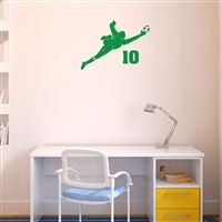Personalized Soccer Goalie Guy Removable ChalkTalkGraphix Wall Decal