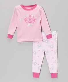Pint-sized princesses' wish has been granted with this darling pajama set. Wide cuffs and an elastic waistband keep the bottoms fitting perfectly, and super-soft cotton ensures little ones stay comfy all night. Size note: For your children's safety, this item is designed to fit snugly as it is not flame-resistant.