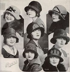 hats - (I actually have some of these :) - Sherri) Mode Vintage, Vintage Ladies, Vintage Hats, Vintage Outfits, Vintage Fashion, Fashion 1920s, 1920s Hats, Flapper Hat, Flapper Style