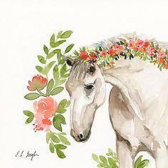 Watercolor Horse Painting, original watercolor artwork, flowers, horse art, farmhouse style, fine art, floral horse, peach flowers, nursery