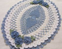 Items similar to crocheted oval doily wood violet/purple/lavender and white  handmade on Etsy