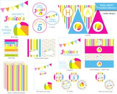 Pool Party Birthday Party Printable Drink Labels by MarleyDesign