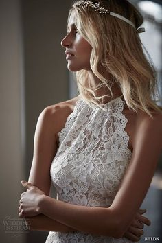 bhldn spring 2016 bridal gowns beautiful elegant halter neck lace sheath wedding dress floral lace embroidery throughout style mina closeup