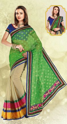 Exotic Beige & Lime Green Embroidered Saree