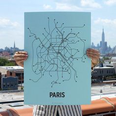 Paris Screen Print Blue now featured on Fab.