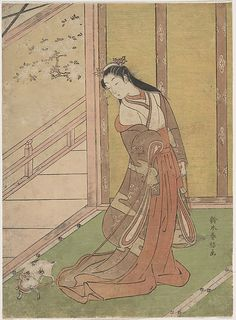 Suzuki Harunobu (Japanese, 1725–1770). Onna San no Miya (the Third Princess), 1768–70. The Metropolitan Museum of Art, New York. The H. O. Havemeyer Collection, Bequest of Mrs. H. O. Havemeyeyer, 1929 (JP1638) |  On a spring day, her cat ran outside, swinging open the bamboo blind and revealing the young nobles playing ball in the garden.