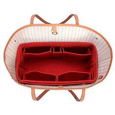 CEEWA Felt Purse Organizer -Multi Pocket Bag in Bag Organizer fit Tote & Handbag Shaper fits Speedy 30 and Speedy 40 (X-Large, Red)