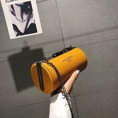 Fashion round mini crossbody bags for women nubuck PU leather lady cylinder handbags Types Of Handbags, Bags For Teens, Shoulder Bags For School, Chain Crossbody Bag, Pebbled Leather, Pu Leather, Small Bags, Leather Clutch, Cross Body Handbags