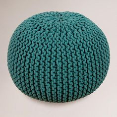 Mallard Green Knitted Pouf | worldmarket {{ i don't know the purpose of a pouf, but i like them for some reason }}