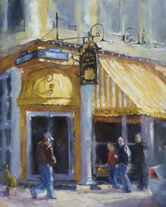 Window Shopping.  Brick Alley Pub Newport RI by Anthony Tomaselli available at Harbor Fine Art