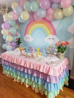 1st Birthday Balloons, Rainbow First Birthday, Rainbow Unicorn Party, 1st Birthday Party For Girls, Unicorn Birthday Parties, Birthday Party Centerpieces, Birthday Decorations, Rainbow Centerpiece, Alaia