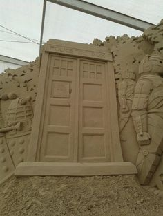 Someone made these awesome sculptures at the beach