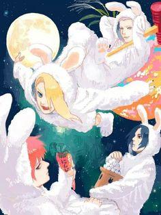 Akatsuki bunnies | Hidan, Itachi, Deidara, Sasori