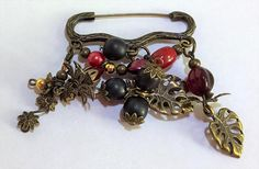 Antique Bronze Brooch with Red Gold and Brown Beads and