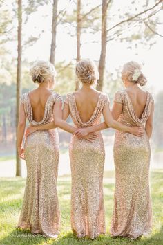 Unique Wedding Ideas: Add Sparkle with Sequins - bridesmaid dresses; Archetype Studio Inc.