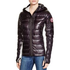 Canada Goose Hybridge Light Hooded Jacket ($575) ❤ liked on Polyvore featuring outerwear, jackets, hooded parka jacket, canada goose parka, light weight jacket, lightweight hooded jackets and parka jacket