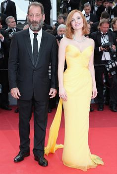 Vincent Lindon and Jessica Chastain at the opening ceremony premiere of Café Society.