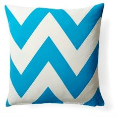 Check out this item at One Kings Lane! Chevron 20x20 Cotton Pillow, Blue