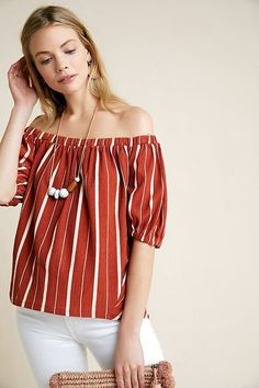 Anthropologie Elodie Striped Off Shouder on Mercari Off Shoulder Blouse, Off The Shoulder, Anthropologie Clothing, Petite Size, Luxury Fashion, Pullover, Clothes, Tops, Terra Cotta