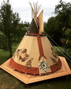 20' Nomadic's tipi set up in Austria on an awesome custom deck. #Austria #teepee…