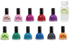 Kid friendly nail polishes in cute colours with even cuter names. Ice Cream Soda Pop anyone?