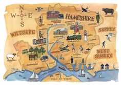 Hampshire Map Print by Alison Gardiner British Gifts, Hampshire Uk, New West, Isle Of Wight, Portsmouth, British History, Surrey, Great Britain, Day Trips