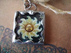 SUNSHINE  Soldered Art Glass Pendant or Charm by victoriacharlotte, $8.00