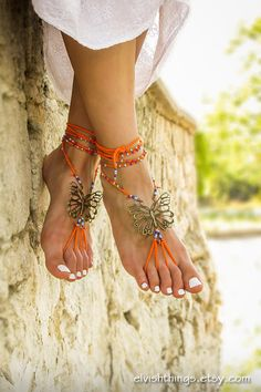 Hippie beaded barefoot sandals Gypsy shoes Bare foot jewelry Yoga footless sandles Bottomless sandals Beach wedding soleless sandal Anklets by ElvishThings