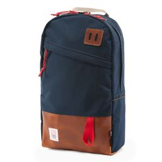 Topo Designs Daypack Navy/Leather Made in USA Backpack Bookbag