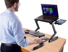 Sensible Adjustable Aluminum Laptop Desk/stand/table Vented W/cpu Fans Mouse Pad Side Mou Laptop & Desktop Accessories