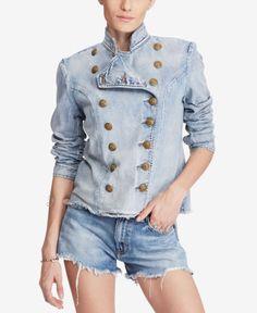 298 Denim Supply Ralph Lauren Women Indigo Military Army Officer Band  Jacket 900ea0258a4f