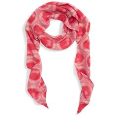 Women's Sole Society Watermelon Print Skinny Scarf (£18) ❤ liked on Polyvore featuring accessories, scarves, blush multi, sole society, print scarves, lightweight shawl, lightweight scarves and patterned scarves
