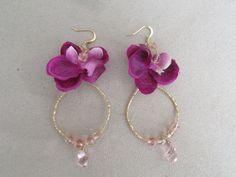 Purple Silk Orchid Flower Earrings with by AshleyTorreyDesigns, $17.00