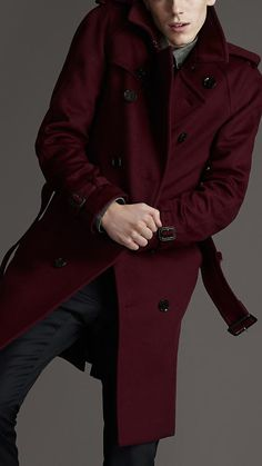92310a0e2fe Wool   Cashmere Trench Coat in red claret  1