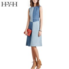Haoduoyi 2017 Fashion Euramerican Style Women Summer Patchwork Dresses  O-Neck Empire Sleeveless Slim Comfortable Dress vestidos ead1d8f7991d
