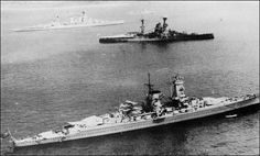 Future enemies at peace. HMS Hood (background), HMS Resolution (centre), and the German Pocket Battleship Admiral Graf Spee (foreground), anchored at Portsmouth for King George VI's birthday, May George Vi, Roi George, Hms Hood, Capital Ship, Heavy Cruiser, Air Photo, Military Diorama, Navy Ships, Submarines
