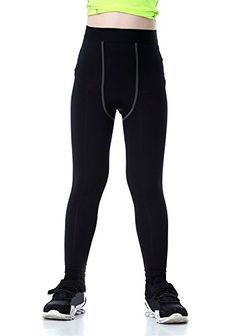 Boys & Girls Compression Tights Sport Leggings Base Layer Soccer Hockey Thermal Pants for Kids - Black - - Outdoor Clothing, Boys, Base Layers # # Sports Leggings, Tight Leggings, Black Leggings, Thermal Clothes, Trekking Outfit, Layering Outfits, Kids Pants, Fleece Pants