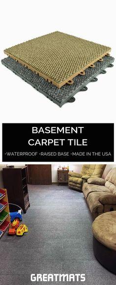 Best DIY Renovation Ideas for unfinished Basement Carpet Tiles For Basement, Concrete Basement Floors, Low Ceiling Basement, Wet Basement, Basement Remodel Diy, Basement Bedrooms, Basement Renovations, Basement Ideas, Basement Flooring Waterproof