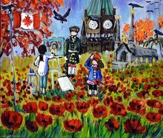Page from We Stand on Guard book I illustrated Nov. 2014 with Menna Glynn Andrews author Canadian Art, Naive, Online Art, Original Artwork, My Books, To Go, Colours, Canning, Canvas