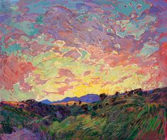 Large-scale oil painting landscape in a contemporary impressionist style, by Erin Hanson.