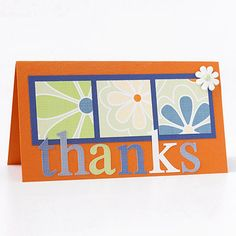 "I love this one: Geometric Thank-You Card: ""A square punch makes quick work of a geometric card. Mat three punched squares on blue card stock to help them pop off the orange background."""