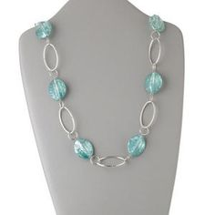 Necklace, acrylic and silver-color steel, turquoise blue, 29x24mm oval, 36-inch continuous loop. Sold individually.