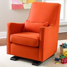 The Land of Nod | Nursery Gliders: Orange Upholstered Monte Luca Glider and Ottoman in Rockers & Gliders